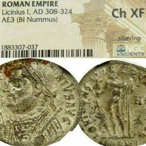 LICINIUS NGC Certified Choice XF RARE R2 in RIC Silvered Ancient Roman Coin - $296.10