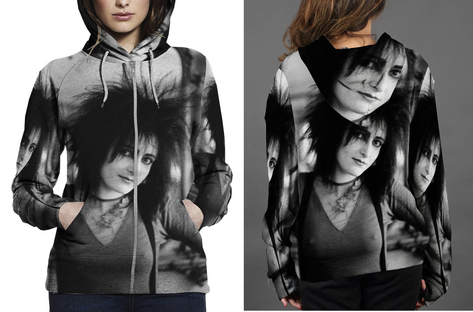 Siouxsie and the banshees hoodie zipper fullprint for women
