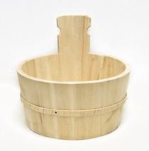 Rustic Round Wood Planter Barrel Basket Plant Pot Bucket Holder - $9.60 CAD