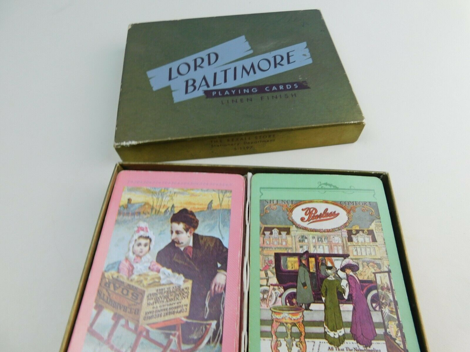 Vintage LORD BALTIMORE Linen Finish Playing Cards - $9.89