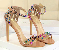 PS389 awesome ankle strappy sandals w colorful studs, size 4-8.5, champion - $52.80