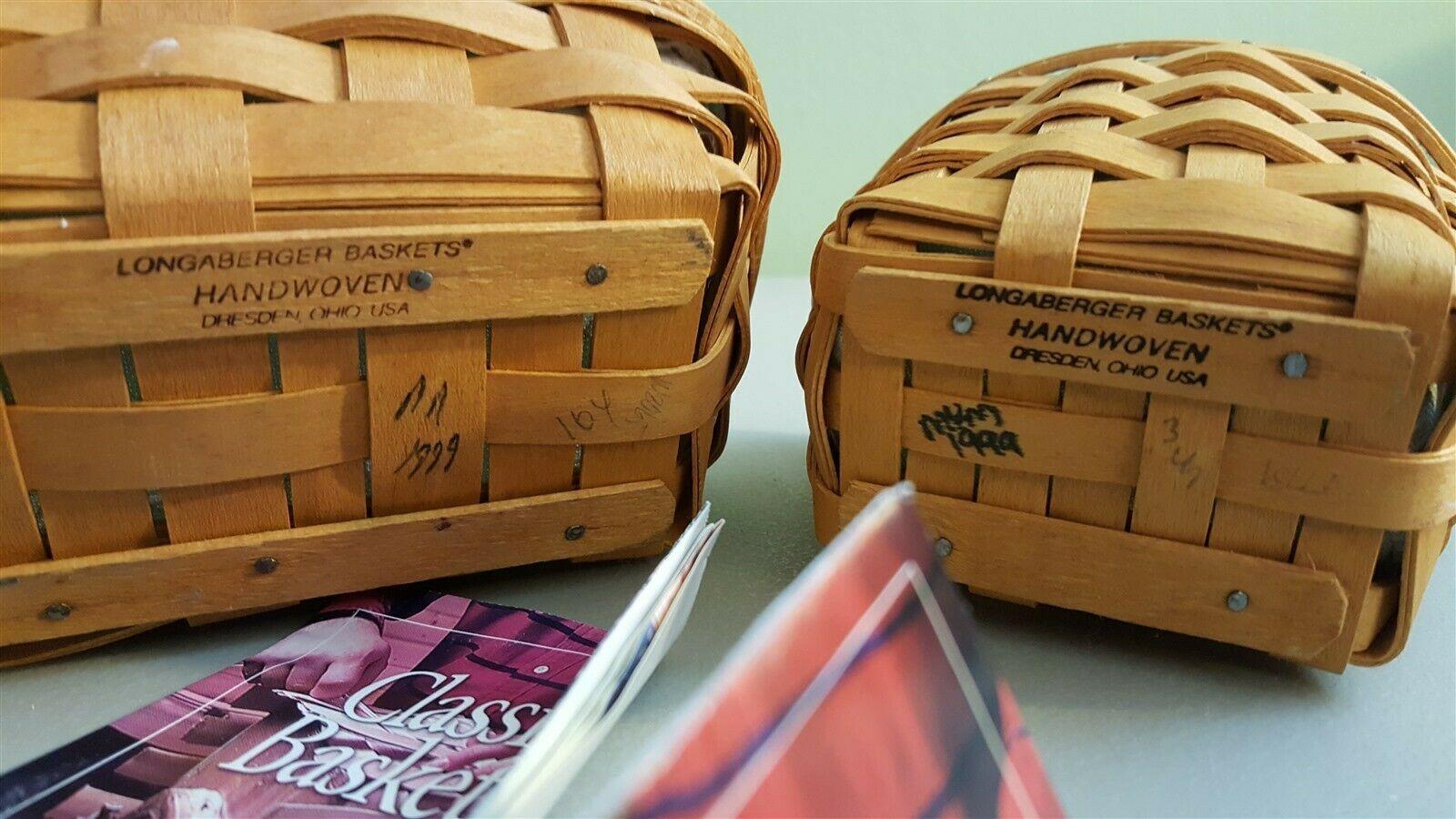 Longaberger 1999 OREGANO & PARSLEY BOOKING BASKET 2 Baskets Liners & Protectors