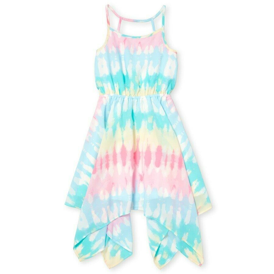 Primary image for NWT The Childrens Place Girls Tie Dye Woven Sleeveless Handkerchief Dress
