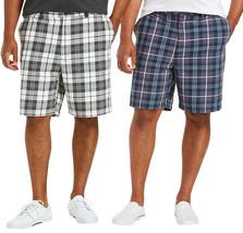 Men's Classic Fit Flat Front Cotton Plaid Stripe Pattern Lightweight Shorts image 1