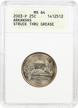 2003-P Arkansas 25c ANACS MS64 (Struck Thru Grease) - Statehood Quarter - $29.10