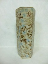 DECORATIVE CHINESE PORCELAIN FLORAL HEX SHAPED VASE - $70.00