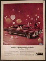 1966 Ford Fairlane 500 Print Ad Family Entertainment Center Maroon color - $8.91