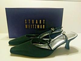 Stuart Weitzman Gloambiance Black Peau Multi Strap Rhinestone Pumps Size... - $56.95