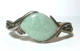 FINE JEWELRY STERLING SILVER JADE LARGE STONE CUFF BRACELET HINGED OPENING - $95.00