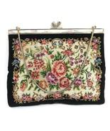 Vintage Black Floral Petit Point Handbag Hand Made Purse Pearl Inlay Estate - $160.20