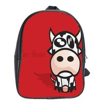 Backpack School Bag Cow Cute And Funny Animation With Red Design Cow Animal Game - $33.00