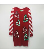Ugly Christmas Sweater Dress Hearts Candy Canes Red White Small - $29.03