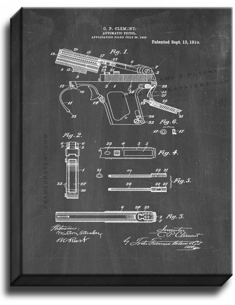 Primary image for Automatic Pistol Patent Print Chalkboard on Canvas