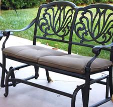 Outdoor Glider Elisabeth Patio  Cast Aluminum Bench Furniture Desert Bronze image 2