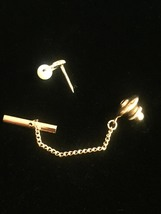 Vintage 60s Gold Hoop and Faux Pearl Tie Tack with Chain image 3