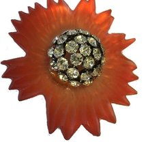 Vermilion Lucite Rhinestone Domed Sunflower Pin - $175.00