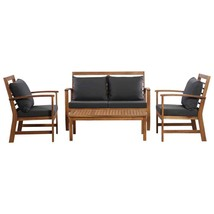 vidaXL 4 Piece Solid Acacia Wood Garden Lounge Set with Cushions Outdoor... - $318.99