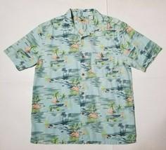 Joe Marlin Mens Large Hawaiian Shirt Flamingo Palm Tree Print Rayon Cott... - $19.99
