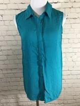 Velvet Heart Womens Button Front Shirt Sz Small Sleeveless Turquoise Blu... - $14.99