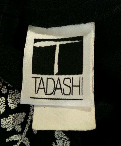 Vintage 27.4ms Tadashi Negro Blanco de Flores Cuentas Recortado Vestido Ceñido