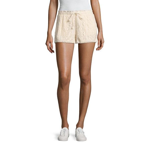 "Rewind 3"" Lace Soft Shorts Juniors Size S, M, L, XL New Msrp $40.00 Ecru"