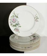 Craftsman PRINCESS Salad Plate (s) LOT OF 7 Japan Goldtone Trim Floral R... - $24.70