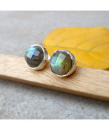 Blue Fire Labradorite 925 silver stud earrings Labradorite Round Faceted... - $26.99