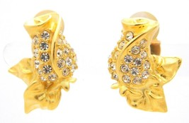 VTG GIVENCHY Paris New York Signed Gold Tone Rhinestone Rose Clip Earrings - $123.75