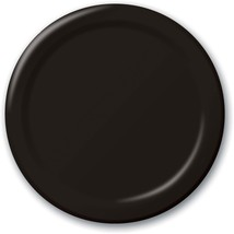 "24 Plates 10"" Paper Dinner Lunch Plates Wax Coated - Black - $8.66"