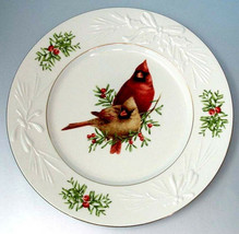 Lenox Winter Greetings Accent Luncheon Plate Cardinal Male & Female Birds NEW - $62.90