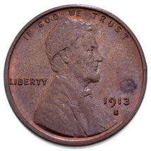1913-S 1C Lincoln Cent in BU Condition, Mostly Brown Color, Some Red - $173.24