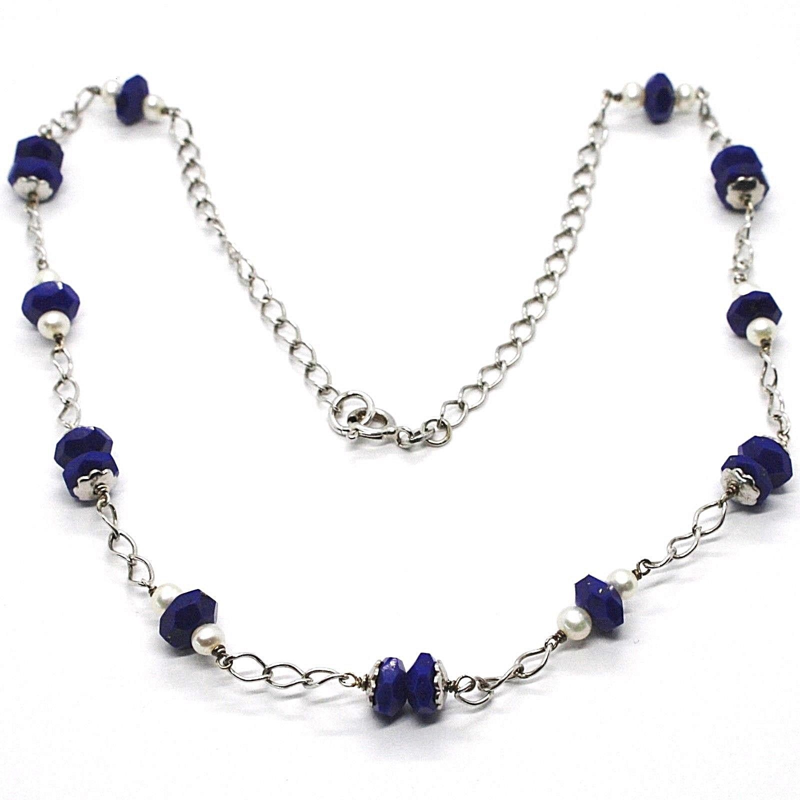 SILVER 925 NECKLACE, LAPIS LAZULI BLUE DISCO FACETED, PEARLS, 45 CM