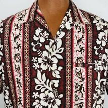 Royal Creations Hawaiian Aloha Vintage Large Shirt Tapas Hibiscus Burgun... - $39.59