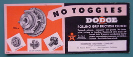 INK BLOTTER 1950s  - DODGE Rolling Friction Clutch San Francisco California - $4.49