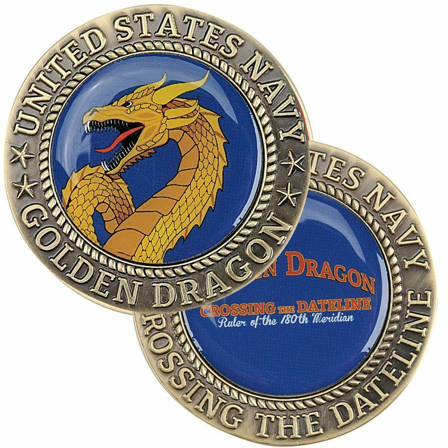 "Primary image for NAVY DOMAIN OF THE GOLDEN DRAGON CROSSING THE DATELINE 1.75"" CHALLENGE COIN"