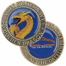 "NAVY DOMAIN OF THE GOLDEN DRAGON CROSSING THE DATELINE 1.75"" CHALLENGE COIN - $28.49"