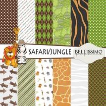 Safari, Jungle inspired Scrapbook Papers, 12 Sheets, Custom Designs - $6.50