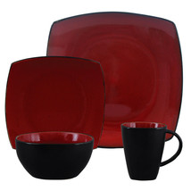 Gibson Elite Soho Lounge Square 16-Piece Dinnerware Set,  Red - $95.61