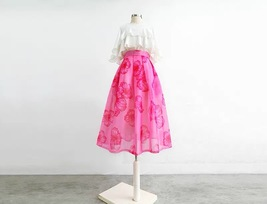 Summer Pink Floral Midi Party Skirt Outfit Organza Plus Size Midi Skirt Pockets image 5