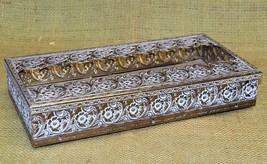 Vintage Tissue Box Holder - Filigree Brass Metal - Hollywood Regency/Mid... - $34.16