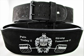 "Weight lifting Power Belt 6"" Taper to 4"" Top Grain Leather 11mm Thick Si... - $54.45"