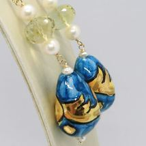 Yellow Gold Earrings 750 18K Pearls and a Drop Painted by hand Made in Italy image 3