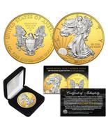 2018 American 1oz Silver Eagle MIXED-METALS SILVER w/ 24K GOLD Backgroun... - £42.68 GBP