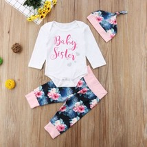 Newborn  Infant Baby Girl Rompers Long Sleeve Jumpsuit  + Flora Pants  +... - $9.39