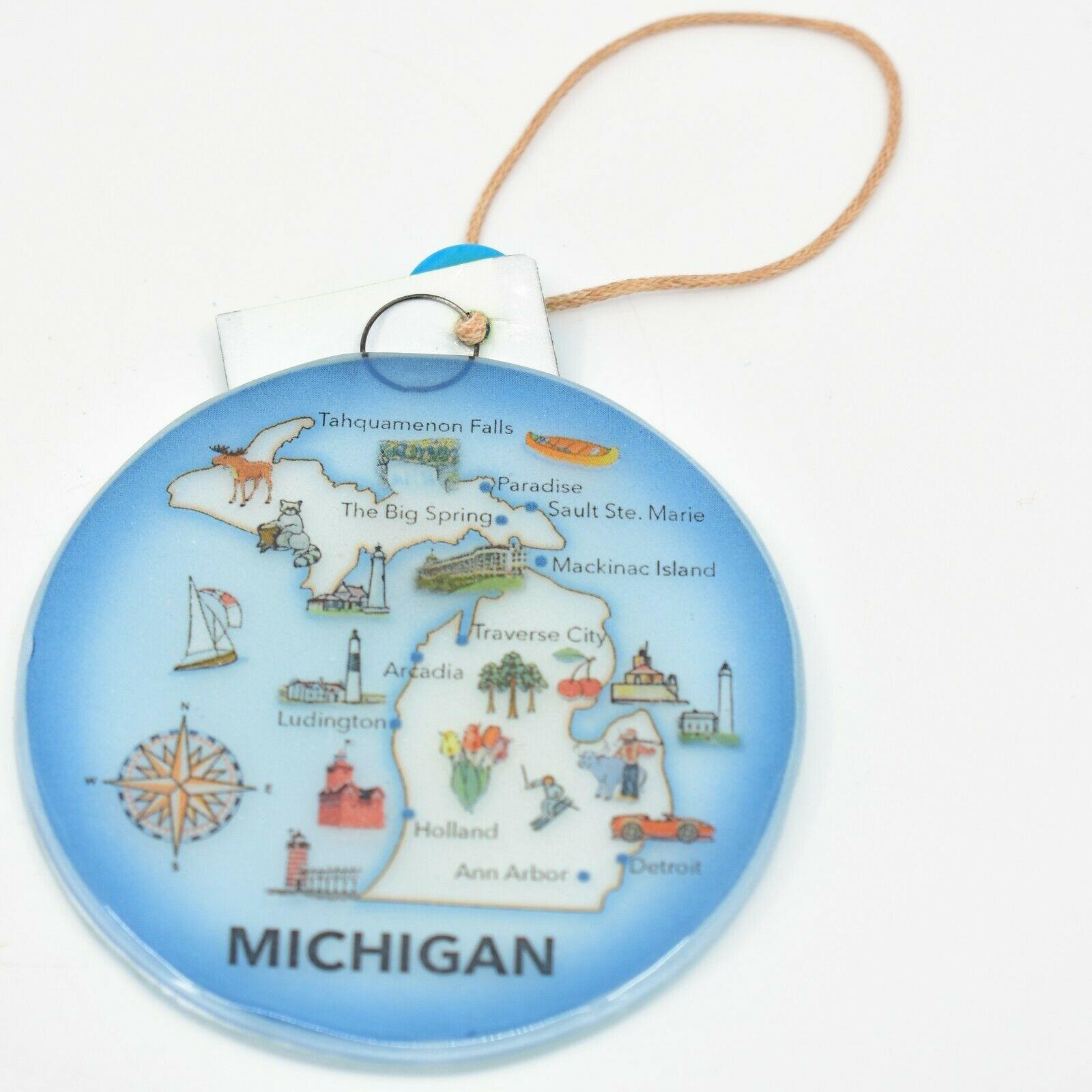 Handmade Fused Art Glass Pure Michigan Souvenir Map Ornament Sun Catcher Ecuador