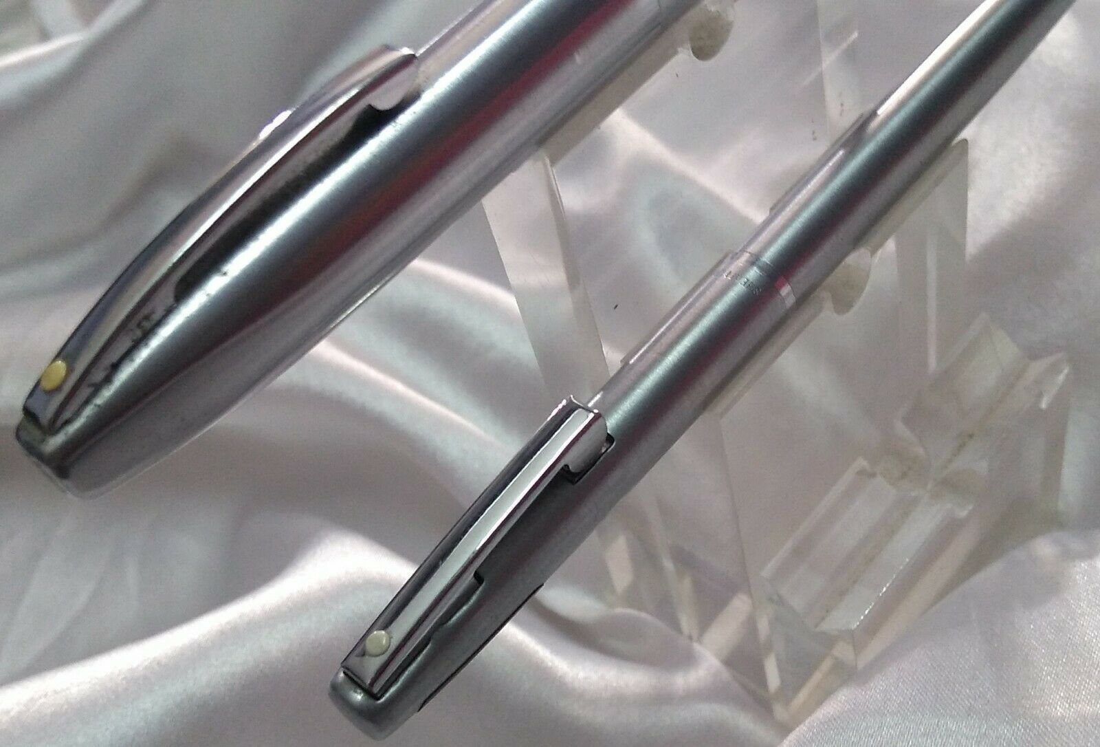Sheaffer imperial stainless steel fountain and ball pen set USA made