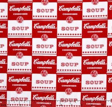 Campbell's Contemporary Soup Can Label Red 100% cotton Fabric remnant 43... - $8.81