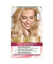 L'Oreal Excellence 9 NATURAL LIGHT BLONDE Permanent Hair Dye 100% GREY C... - $20.24