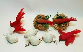 Vintage Lot of 8 Birds Christmas Ornaments Feathers Nests Cardinals etc - $15.79