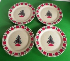 Folk Craft HOLIDAY Christmas Tree Salad Plate (s) LOT OF 4 Red Squares S... - $24.70